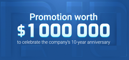 RoboForex's 10-year anniversary Promotion - Up to 1,000,000USD