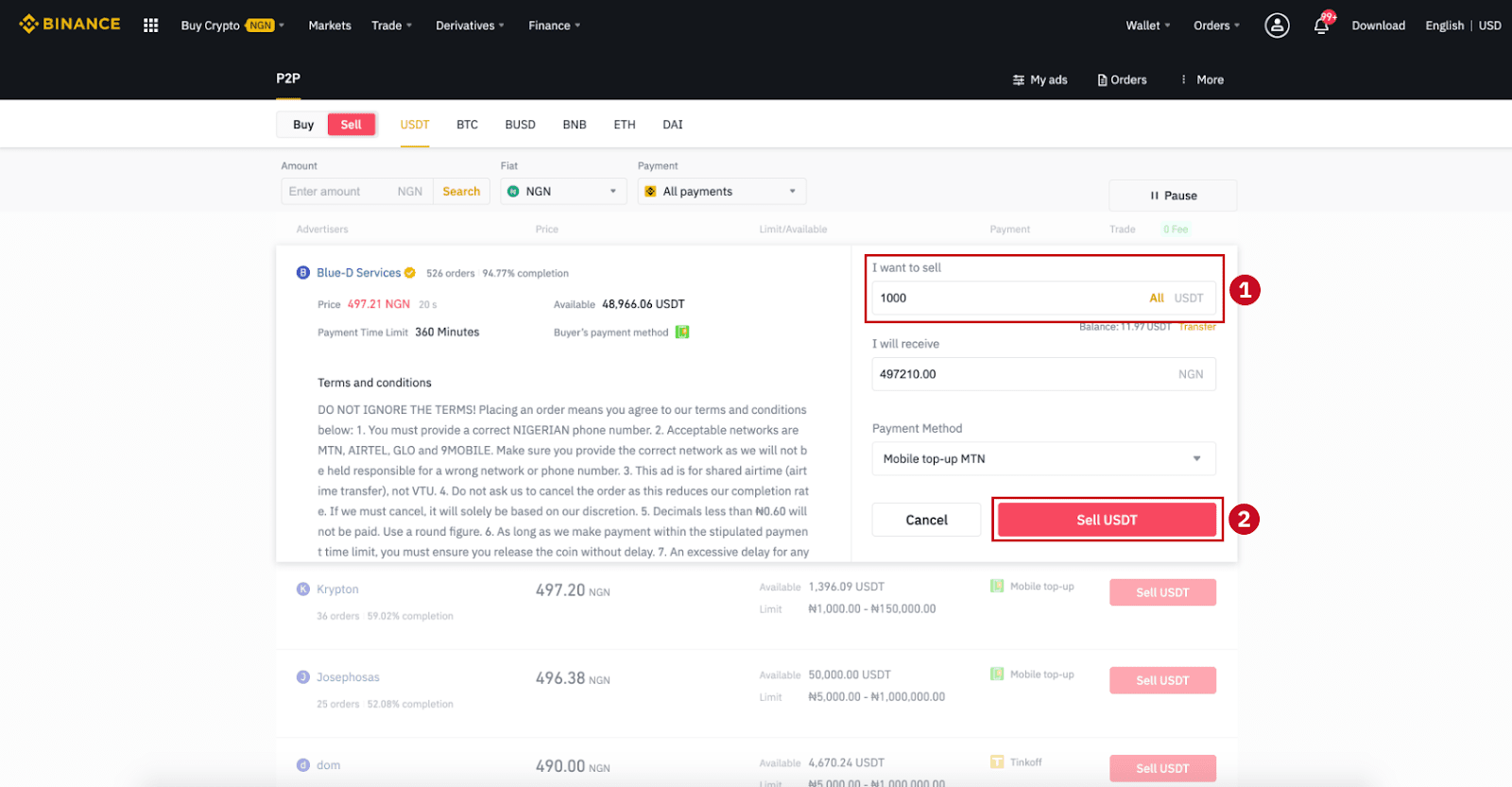 How to SELL Crypto on Binance P2P via Web and Mobile App