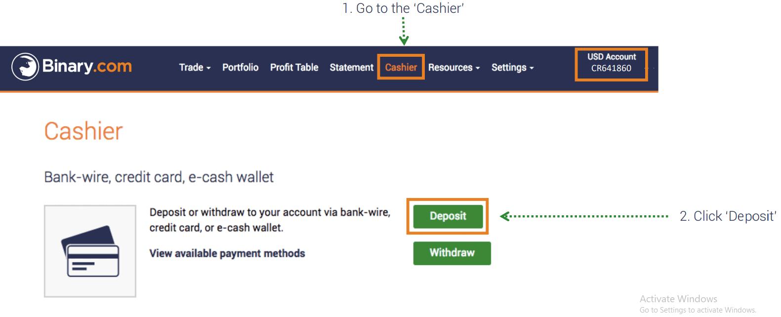 How to Deposit Money in Binary.com