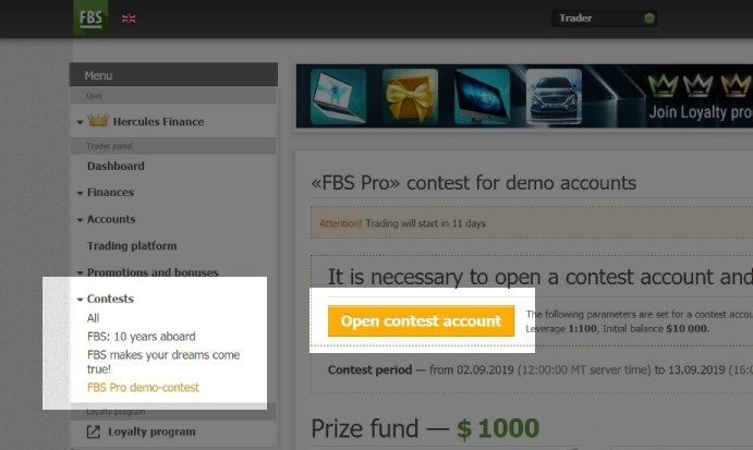 FBS Pro Demo Trading Contest - $1,000 Cash Prize Pool